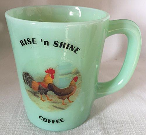 Rise N Shine Coffee - Chicken Rooster Hen - Jade Jadeite Jadite Green Glass Coffee Mug - USA - American Made