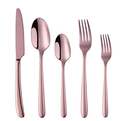 Flatware Set Luxurious Stainless Steel Tableware Dinner Knife Dinner Fork Dessert Fork Dinner Spoon Tea Spoon Cutlery by Buy THINGS Coffee Color 5 pieces