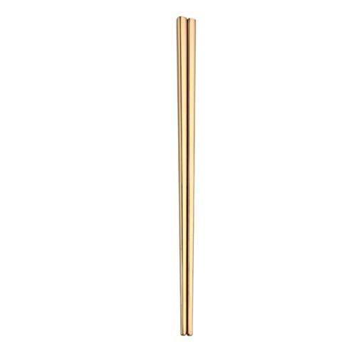 Oksale 1 Pair Stainless Steel Tableware Colorful Length 23cm Chopsticks Gold
