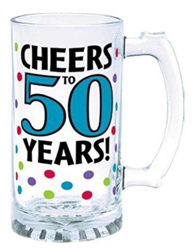 50 Cheers To 50th Birthday Glass Tankard 15 Oz. Mug