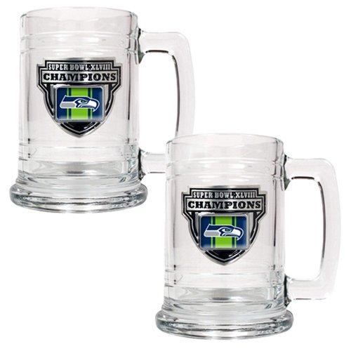 Seattle Seahawks Nfl Super Bowl Champ 2pc 15 Oz Tankard Set