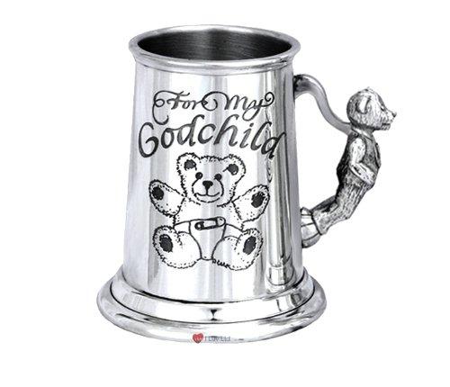 Uk Pewter, Christening Cup My Godchild Teddy Handle Tankard Design