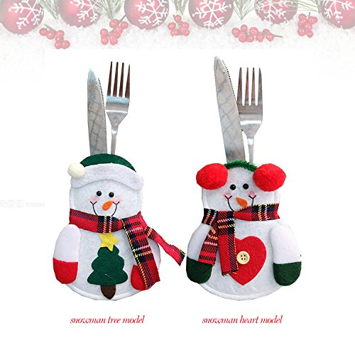 Amorvue New Christmas Forks Knives Decoration Holders 2pcs Christmas Santa Claus&Deer Tableware Sets Xmas Silverware Bags Knife and Fork Table Decoration 2pack deersanta claus