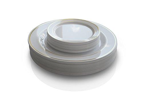 OCCASIONS 50 Pack Premium Disposable Plastic plates  25 x 105 Dinner  25 x 6 Cake plates White Gold Rim