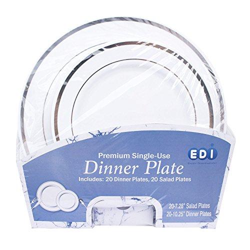EDI 40 Pack Premium Disposable Plastic plates 20 Dinner  20 Salad plates WhiteSilver Rim 1