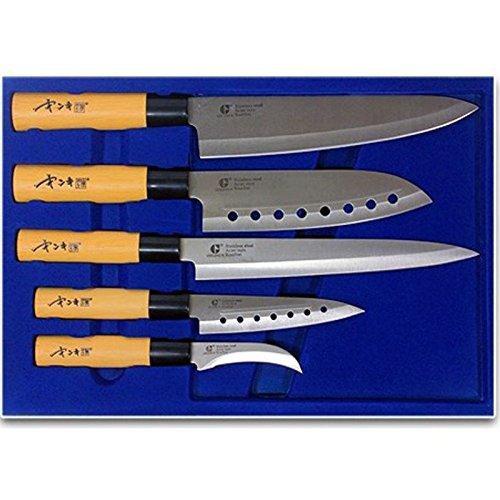 Goldsun Sashimi Kitchen Knife Set 5pcs Stainless Steel Cutlery Japanese Chef Knives