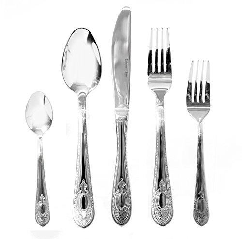 Venezia Collection Luna 65-Piece Fine Flatware Set Silverware Cutlery Dining Service for 12 Premium 1810 Surgical Stainless Steel Hostess Serving Set