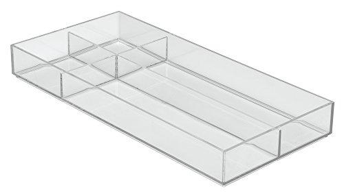 InterDesign Clarity Kitchen Drawer Organizer for Silverware Spatulas Gadgets - X-Large 8 x 16 x 2 Clear