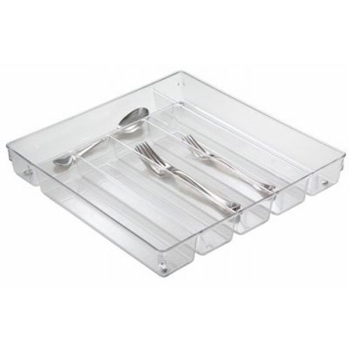 InterDesign Linus Kitchen Drawer Organizer for Silverware Spatulas Gadgets - Clear