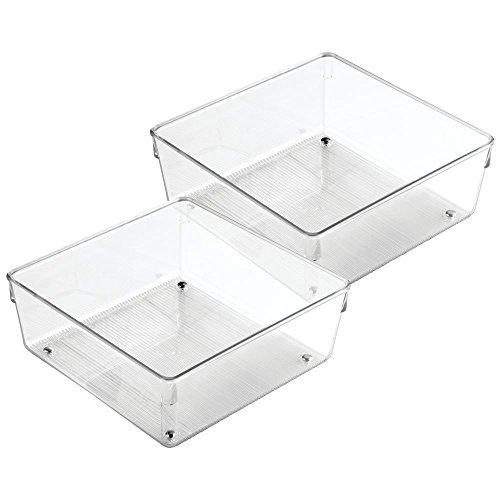 InterDesign Linus Kitchen Drawer Organizer for Silverware Spatulas Gadgets - Set of 2 8 x 8 x 3 Clear
