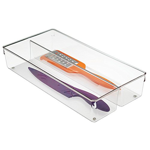 InterDesign Linus Twin Kitchen Drawer Organizer for Silverware Spatulas Gadgets - 8 x 16 x 3 Clear