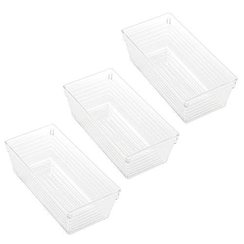 InterDesign Sierra Kitchen Drawer Organizer for Silverware Spatulas Gadgets - 3 x 6 x 2 Set of 3 Clear