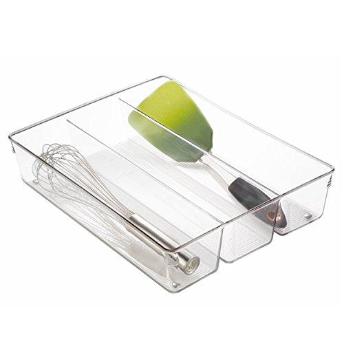 mDesign Kitchen Drawer Organizer for Silverware Spatulas Gadgets - 138 x 105 x 3 Clear