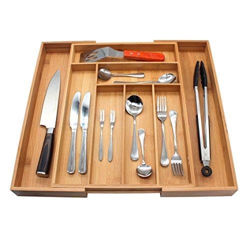 Flatware Organizer MH ZONE Bamboo Cutlery Flatware Tray 8 Slot Expandable Utensil Organizer