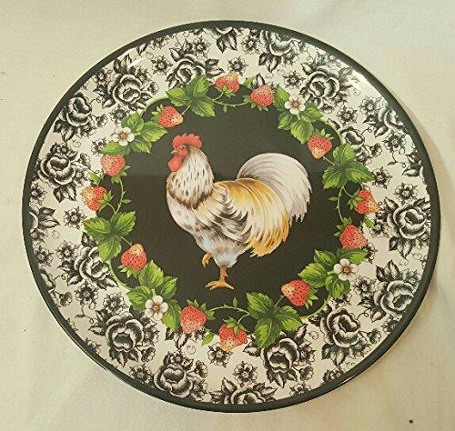 French Rooster Round Melamine Serving Platter 145 Inch Diameter