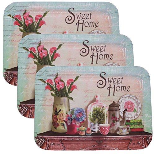Melamine Butler Serving Tray Set Sweet Home Platter Organizer Plates 3PCS 40x28cm Square