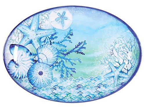 Nantucket Home Blue Sea Life Oval Melamine Serving Platter 18-Inch x 14-Inch