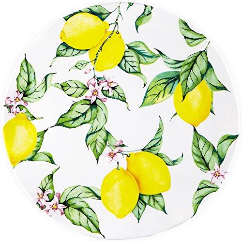 Q Squared Limonata BPA-Free Melamine Serving Platter 16-Inches White Yellow Green Pink