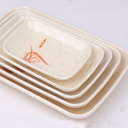 Kaxima Imitation porcelain tableware melamine plate plastic rectangular plate dish dish dish dish dish dish high temperature five 242157cm