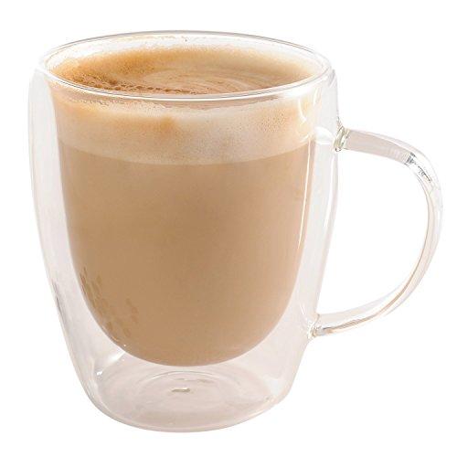 Double-Wall Insulated Coffee Mug Glass 10 oz Set of 2 - Jecobi