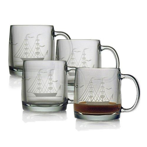 Susquehanna Glass Clipper Ship Sand EtchedHand Cut Glass Coffee Mugs Set of 4 13 ounces
