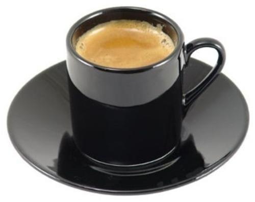 HIC 8-Piece Demitasse Espresso Cups Set Fine Black Porcelain Set Includes 4 Cups with Matching Saucers 225-Ounces
