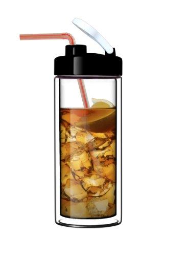 Suns Tea TM 18oz Ultra Clear Double-Wall Glass Travel Mug with Flip-on Drinkhole Lid made of real borosilicate glass