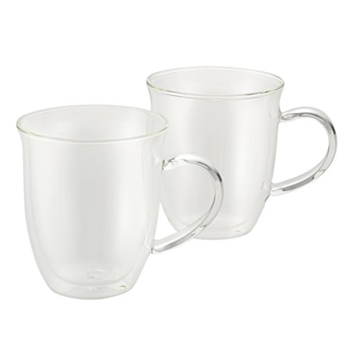 BonJour Coffee Insulated Borosilicate Glass Espresso Cups 2-Piece Set 6-Ounces Each