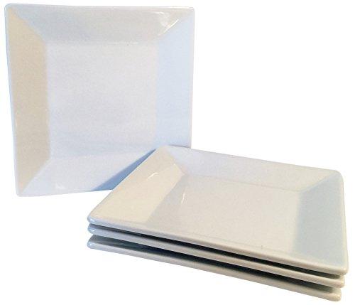 6 inch Porcelain Dessert Appetizer Plates - Set of 4 - White Square Plate Serving Ceramic China Set