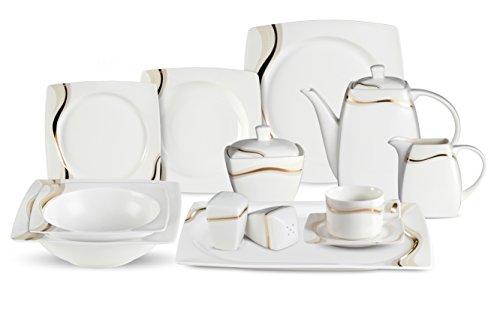Lorenzo 57 Piece Elegant Bone China Service for 8 Dora Dinnerware Sets Gold