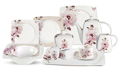 Lorenzo 57 Piece Elegant Bone China Service for 8 Sophie Dinnerware Sets Multicolor