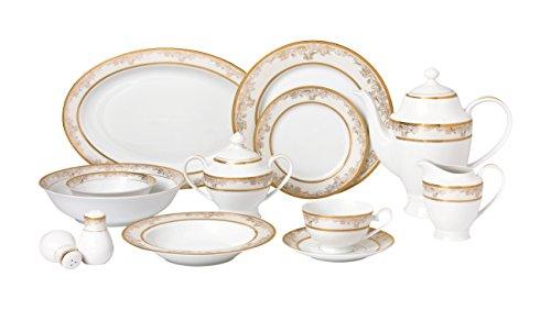 Lorren Home Trends 57 Piece Chloe Bone China Dinnerware Set Service for 8 People Gold
