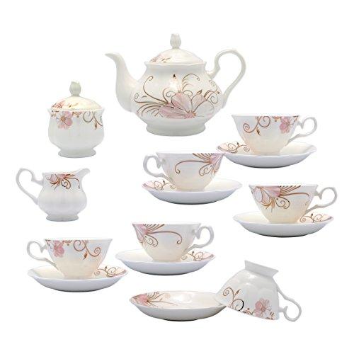 TransSino Treasures Fine Bone China Coffee Set Pink Blossom and Gold Twig Set of 15