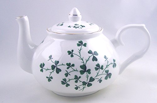 Celtic Shamrock Swirl Chintz Teapot - Fine English Bone China - Crown Trent England