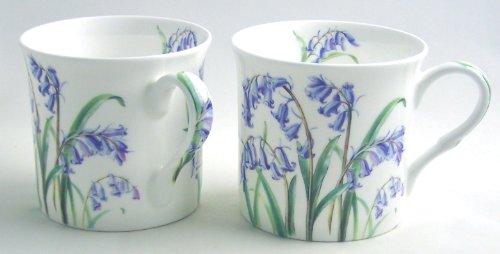 Fine English Bone China Mugs - Bluebell Chintz - 12 Ounce - Pair of Two