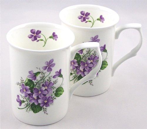 Fine English Bone China Mugs - Set of Two - Wild Violet Spray Chintz