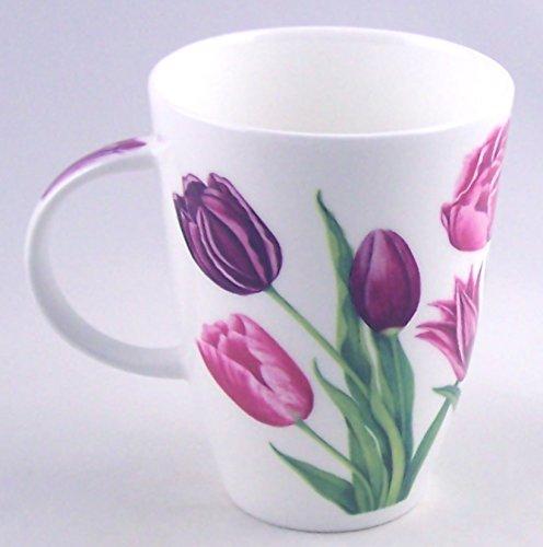 Lavender Tulip Chintz Fine English Bone China Mug - Large 14 ounce Louise Shape - England