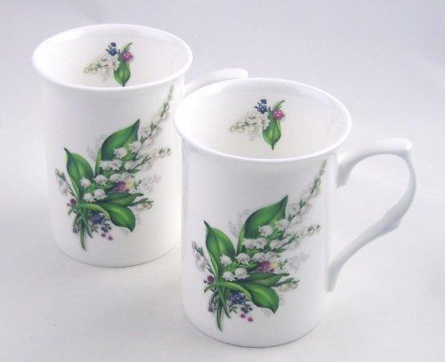 Pair Fine English Bone China Mugs - Lily of the Valley Chintz - England