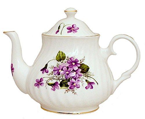 WILD VIOLETS 4 Cup Teapot - Fine English Bone China