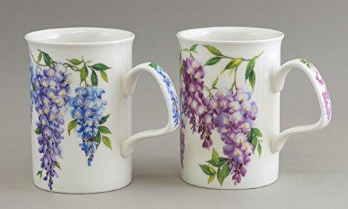 Wisteria Flower - Fine English Bone China Mugs - SET of TWO