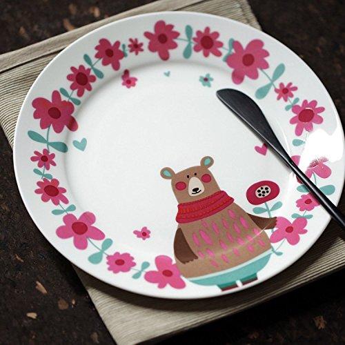 Cartoon Bear Floral Children bone china dinner plates dishes ceramic tableware dessert fruit salad plates kitchen