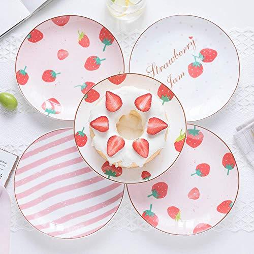 Dinner PlatesBone China Tableware Western Dish Set 8 Inch Steak PlateSuitable for Kitchens Hotels Restaurants Etc( 4 Pcs) Pink