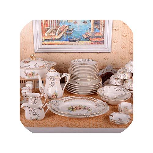 European Luxury Palace Reliefs Bone China Tableware Set 70 Piece Embossment Handpainted Gilt Coffee SetsAs ShowSet 1
