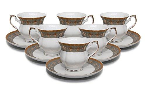 Royalty Porcelain 12pc Fleur-de-Lis Tea or Coffee Set 6 Cups w Saucers 24K Gold-Plated Bone China Tableware