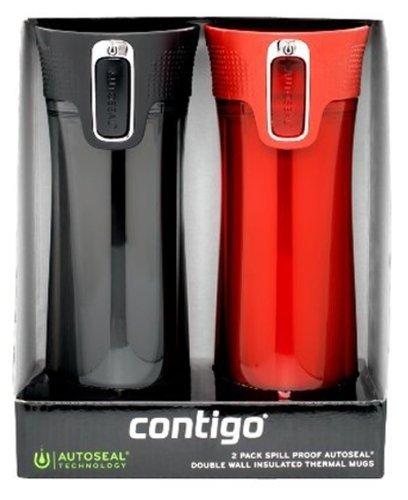 Contigo Autoseal Bella Double Wall Insulated 2-Pack Travel Mug 14-Ounce Red  Black