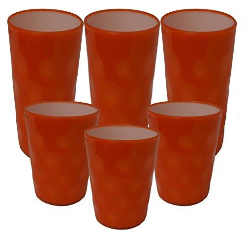 Set 6 Assorted 18oz 14oz Double Wall Plastic Tumblers Wdots Design Orange