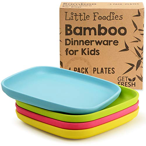 Bamboo Kids Plates 4 Pack Set Stackable Bamboo Dinnerware for Kids Bamboo Fiber Kids Plates Set Dinner Dish Set for Kids and Toddlers BPA-free Dishwasher Safe and Stackable