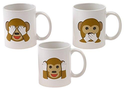 Emoji Universe See No Evil Monkey Emoji Coffee Cups Set of 3 Choice of Style of Coffee Mugs