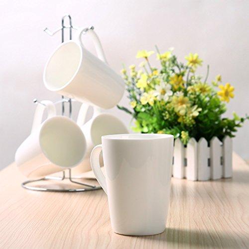 Kicode Tusy Coffee Cups and Chrome Rack Sets High Quality Fine Porcelain