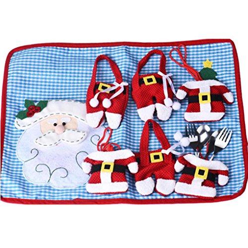 Fullfun 10PCS Christmas Cutlery HolderFork Spoon Decor Bag